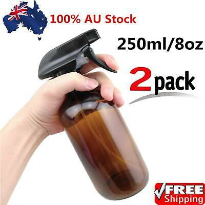 2X 250ML Amber Glass Spray Bottle with Black Trigger Sprayers for Essential Oils
