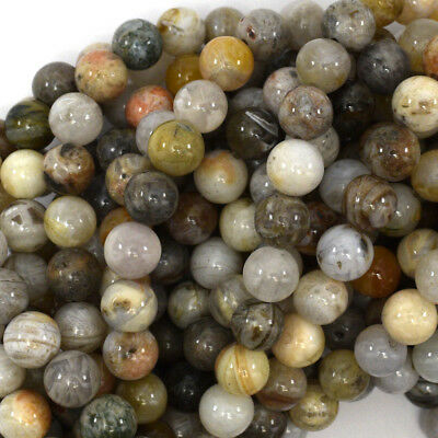 """Natural Bamboo Leaf Agate Round Beads Gemstone 15"""" Strand 4mm 6mm 8mm 10mm 12mm"""