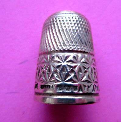 Antique 1902 Hallmarked Pretty Sterling Silver Sewing Thimblehand Worked Florals