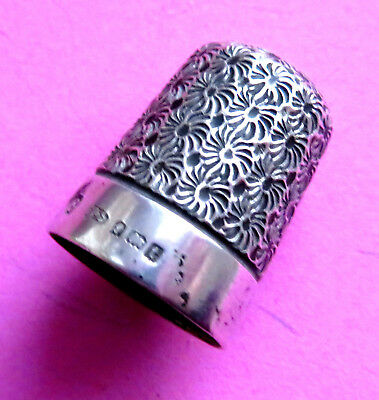 Antique 1918 Hallmared  Pretty Sterling Silv Sewing Thimbl Ehand Worked Florals