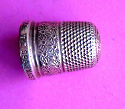 """Antique  Pretty Sterling Silver Sewing Thimble """"the Spa""""  Hand Worked Florals"""