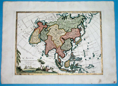 1790 Hand Colored Map Of Asia With Gold Border