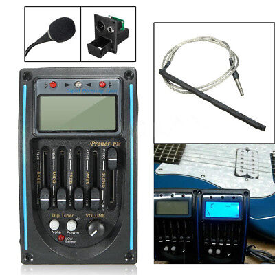 5-Band Acoustic Guitar Preamp EQ Equalizer Piezo Pickup Amplifier LCD Tuner+MIC