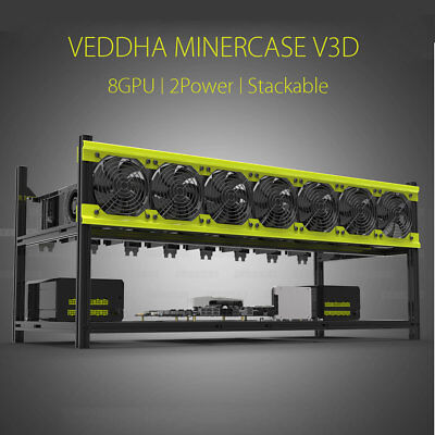 8GPU Open Air Mining Rig Frame Case Stackable For ETH ZEC Crypto Aluminum Veddha