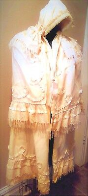 Antique Baby CHRISTENING CAPE?  Ivory  Fancy  Victorian?  37 In.   AS IS