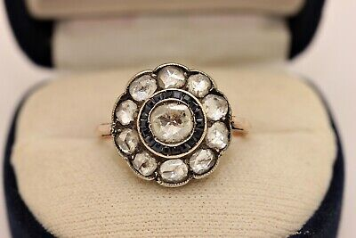 Antique Original Gold Ottoman Sapphire And Diamond Decorated Amazing Ring