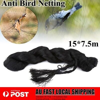 15x 7.5m/25'X50' Commercial Fruit Tree Plant Knitted Anti Bird Netting Net Black
