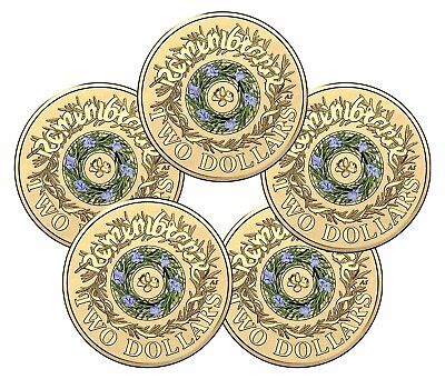 2017 $2 COLOURED COIN UNC Remembrance Day RAM Sachet / Bag of 5 Coins