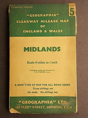 Vintage Geographia Clearway Mileage Map of England & Wales - Midlands Sheet 5