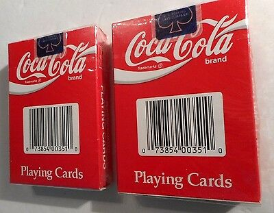 2 Coca-Cola Playing Cards SEALED Red Coated Plastic USA NEW OLD STOCK #29