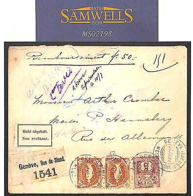 MS2198 1897 SWITZERLAND Registered INSURED 50fr Geneva Unclaimed RETOUR Cover