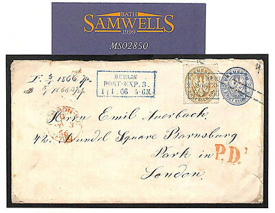 MS2850 1866 German States PRUSSIA Postal Stationery Uprated GB London Fine Cover