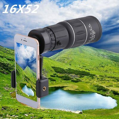 16x52 Zoom Hiking Dual Focus Monocular Telescope 66M/8000M Phone Holder Pouch SK
