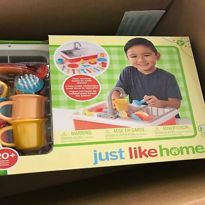 TOYS R US Just Like Home Spark Kitchen Sink Running Water Washing Dishes