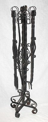 Vtg BLACK WROUGHT IRON FIREPLACE 5-Piece TOOL SET Ornate Twisted Scrolled MEXICO