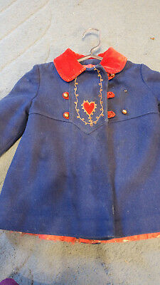 Childs Girl Wool Coat blue with red heart from Germany Vintage