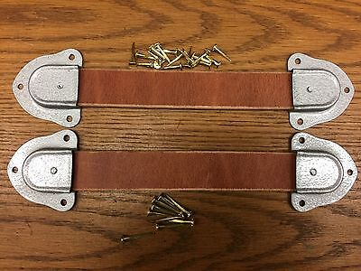 Antique Trunk Hardware- 2 Leather Trunk Handles-4 Silver Metal ends-& nails--D