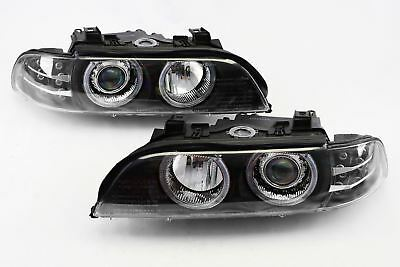 BMW 5 Series E39 95-00 Saloon Black Angel Eyes Headlights Set With LED Indicator