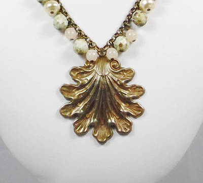 Art Deco Antique Brass Seashell with Seagreen, Opalescent Pink and Creamy Pearls