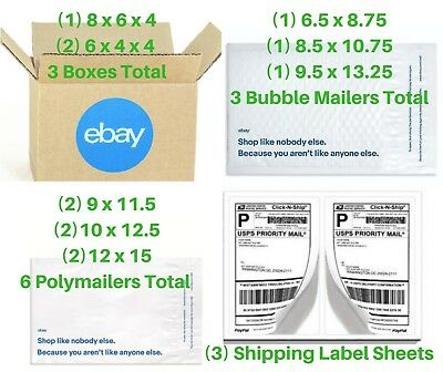 Lot eBay Branded Shipping Supply Sampler Kit Mailers Boxes Poly Bubble Envelope