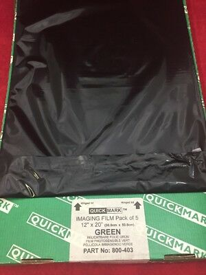 """NEW PACK OF 5 QUICK-MARK Imaging Film Green 12""""x20"""" 800-403"""