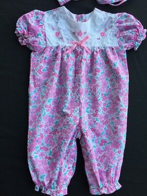RARE Vintage Baby dress Long Romper Jumpsuit One Piece 0-6 Mo New and bonnet