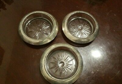Vintage Frank M. Whiting Set of 3 Sterling Silver  Glass Coasters