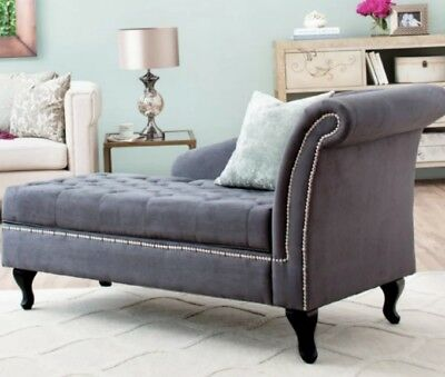 Storage Chaise Lounge Chair Sofa Tufted Gray Hidden Compartment Loveseat  Lounger