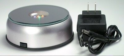 """7 LED 4"""" Light Stand Turntable Night Light Rotating Base Laser Crystals Colored"""