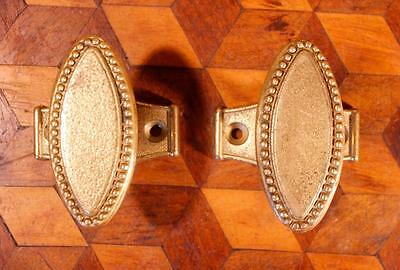 PAIR Vintage Italian Empire Brass Door Knobs Handles Backplates Chateau Chic !