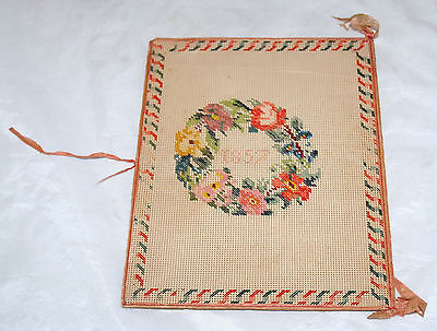 Antique Early American Folk Art Needlework Embroidery Book Cover Dated Floral