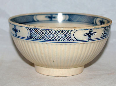 Antique English Pearlware Pottery Blue Decorated Geometric Bowl 18Th 19Th Cent.