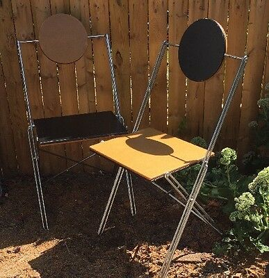 2 Vintage MID CENTURY MODERN Reversible Wooden/Metal CHAIRS~Black & Natural Wood