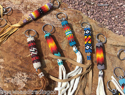 Native American Navajo Bead Design Key Chain Ring Leather