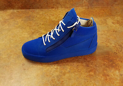 23e75ff51132 New! Giuseppe Zanotti Blue Suede Mid Top Sneakers Mens 9 US 42 Eur MSRP  895