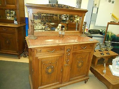 Antique American Quartersawn Tiger? Oak Marble top Sideboard with Mirror