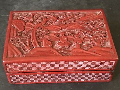 Chinese Antique 19Th Cinnabar Lacquer Box