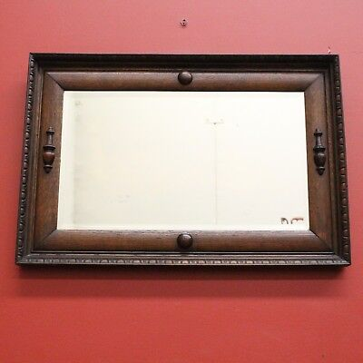Antique French Oak and Bevelled Edge Wall Hanging Hall / Foyer / Vanity Mirror