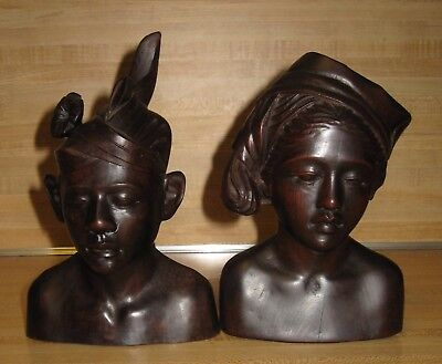Rare Antique Matched Pair Bali D.E.I Hand Carved Wood Man & Woman Bookends