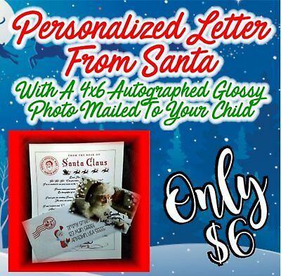 Personalized Letter & Glossy Autographed Photo Mailed From Santa! FREE SHIPPING