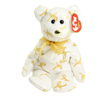 TY Beanie Baby - 2004 SIGNATURE BEAR (8.5 inch) - MWMT's Stuffed Animal Toy