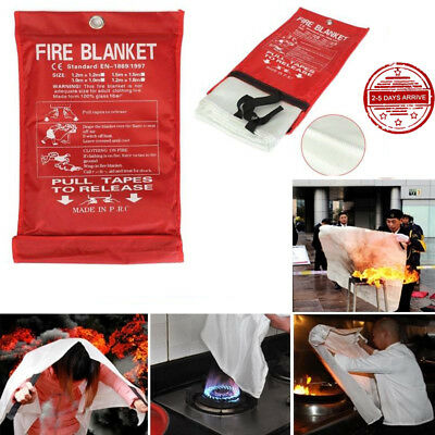 New QUICK RELEASE HOME&OFFICE SAFETY PROTECTOR FIRE BLANKET IN CASE 1M