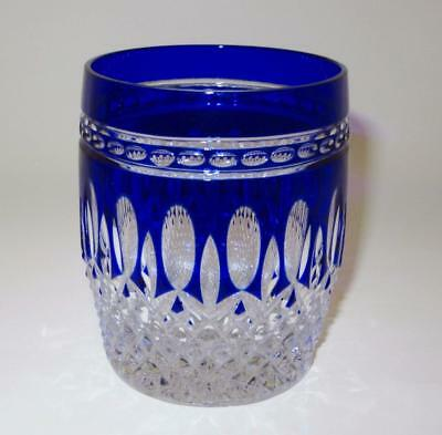 """Waterford CLARENDON Double Old Fashioned Tumbler COBALT Blue, Cut, 4"""" Tall"""
