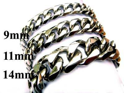 "9/11/14mm 316L Stainless Steel Silver Cuban Curb Link Chain Bracelet 7""-11"" C1"