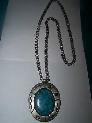 Navajo Style Turquoise Embedded Native American Solid Nickel Silver Pendant