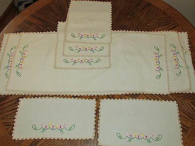 LOT OF 8 VINTAGE Matching Cream Doilies Hand Embroidered Dresser - Table Runner