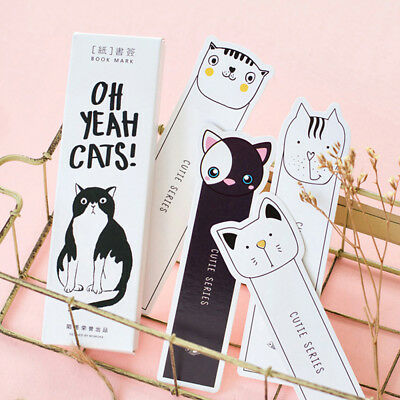 30pcs/box Cute Oh Yeah Cat Kitty Face Page marker Bookmark Paper Holder School
