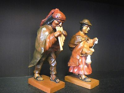 Wooden Peruvian Figurines (2) Man with Pipe Flute and Woman with Distaff