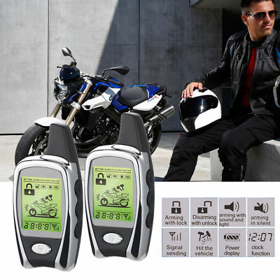 2-Way Motorcycle Safety Alarm System & Immobiliser LCD Pager Remote Engine Start