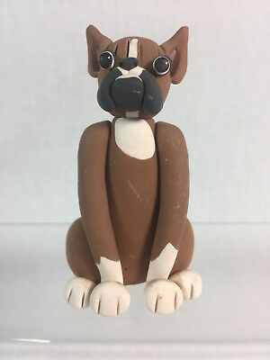 Vintage Cecile Baird BOXER Bulldog Dog Figure Figurine Clay Collectible Signed